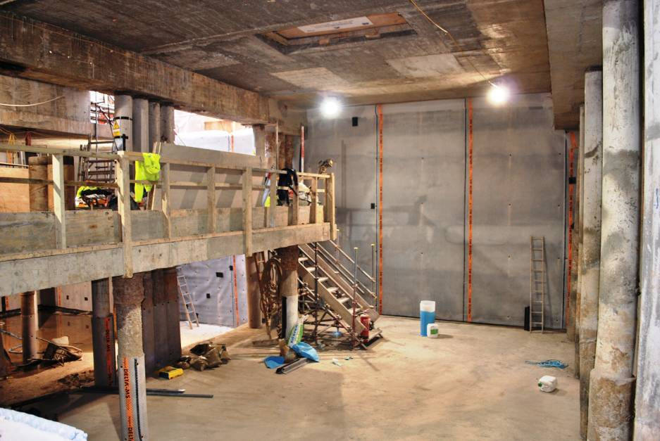 a basement waterproofing installation next to london tube